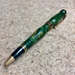 Artisan Americana - 10kt Gold - Stabilized Yellow and Green Dyed Buckeye Burl Wood.jpg
