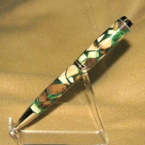 Mammoth ivory with green resin