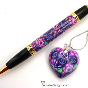 Pen and Heart Pendant Set