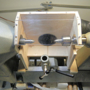 Pen turning hood with dust collection