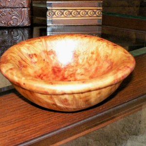 Hand carved maple burl bowl