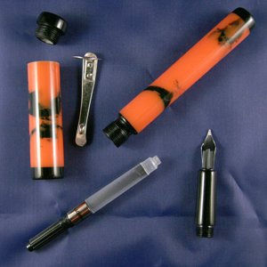 Orange Camo Marble Kitless Fountain Pen 3