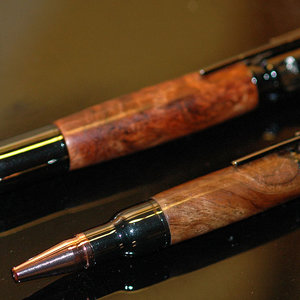 30cal Bolt Action Ballpoint Set with Amboyna Burl
