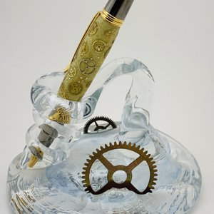Glow-Gear Pen & Steampunk Glass Holder.