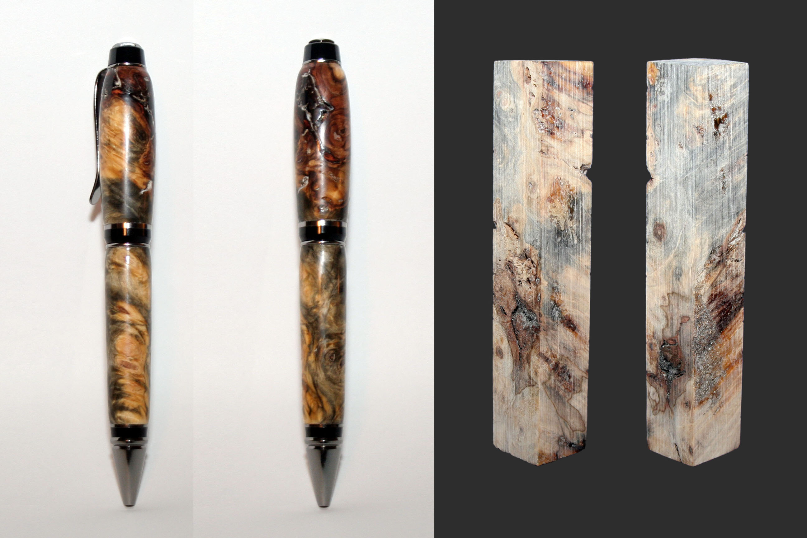 Stabilized California Buckeye Burl Natural Black Titanium Premium Cigar Twist Pen